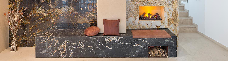Wandverkleidung Marmor Kamin